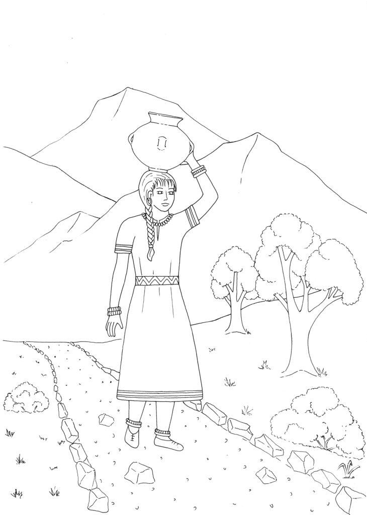 A women walking along a trail carrier a jug
