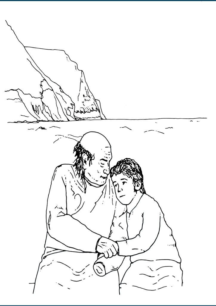 A grandfather talking to his grandchild on shetland