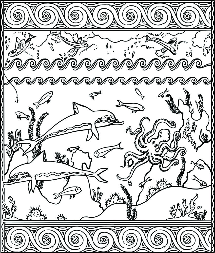 A Minoan fresco with sealife such as fish and dolphins