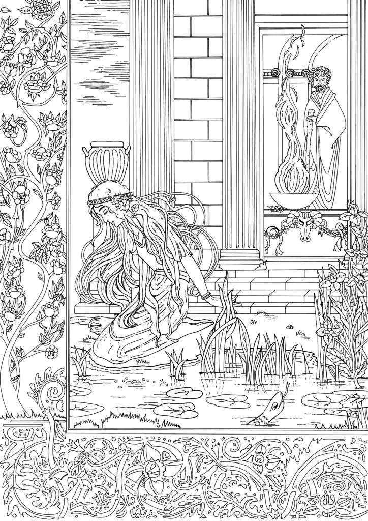 Image of women kneeling next to a pond and temple