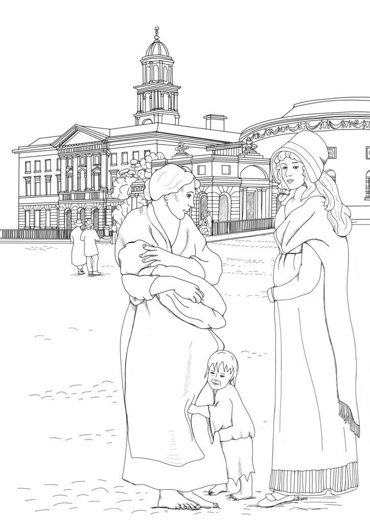 Two women outside the Rotunda hosipital in the 1800s