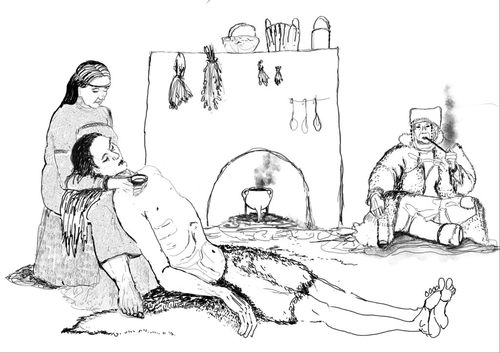 A women caring for a man inside their home