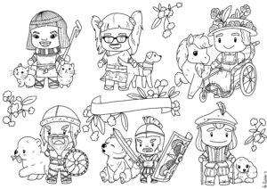 Six Chibi characters from different time periods and with different disabilities
