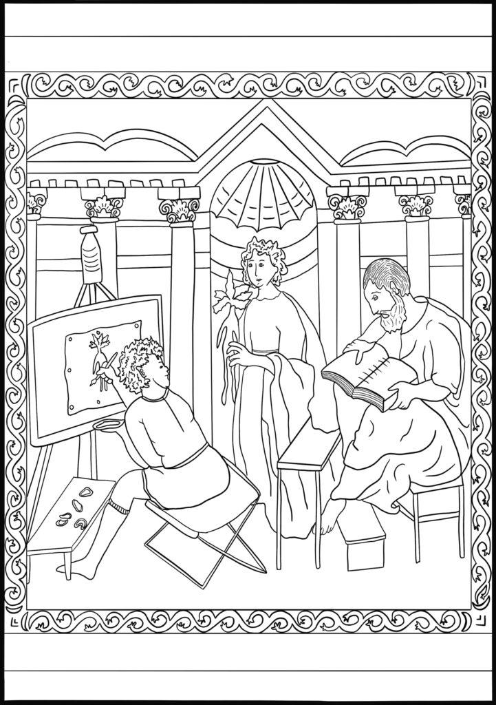 A scene of teacher teaching two pupils