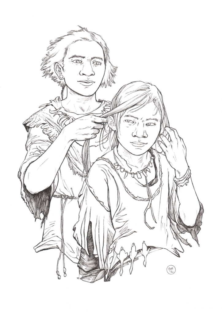 A person braiding another person's hair