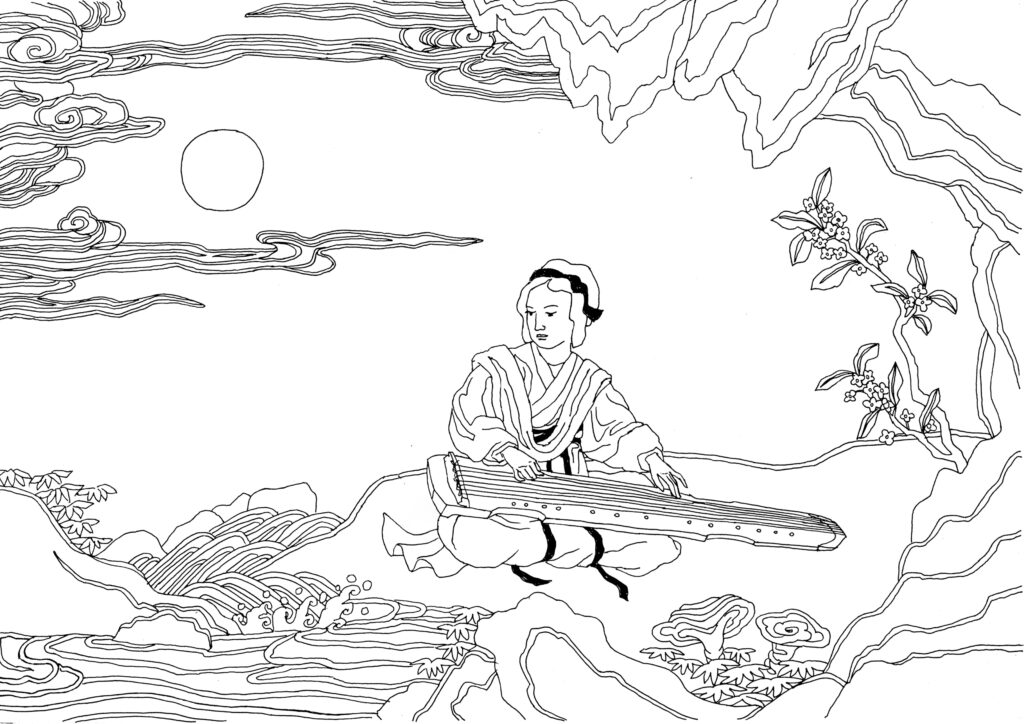 Prince Lu playing a guqin, a seven-string musical instrument
