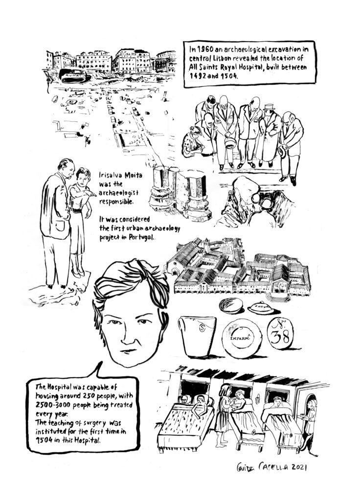 Cartoon og the history of Hospital Real de Todos-os-Santos